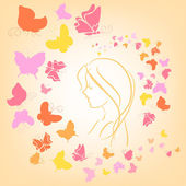 Romantic illustration with butterflies and girl silhouette — Stock Vector