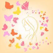 Romantik illüstrasyon kelebek ve kız siluet — Stok Vektör
