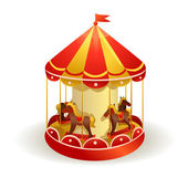 Children's carousel with horses — Stock Vector
