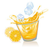 Glass of orange juice and ice cubes — Stock Vector