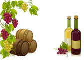 Grapes, barrels and bottles wines — Stock Vector