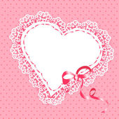 Lace heart with ribbon — Stock Vector