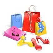 Women purchase, shopping — Stock vektor