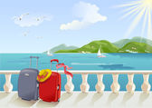Seaside promenade and suitcases — Stock Vector