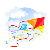 Emblem with a kite and clouds — Stock Vector