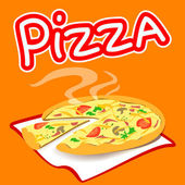 Pizza on a bright background — Stock Vector