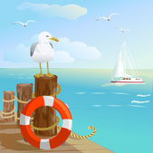Sea, gull, pier, and lifebuoy — Stock Vector