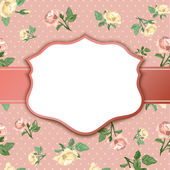 Background of vintage roses with vignette — Stock Vector