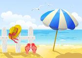 Beach, sea and sun umbrella — Stock Vector