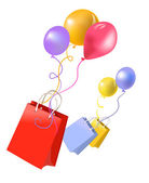 Gift bags and balloons — Stockvector