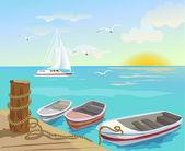 Boats on the sea berth — Stock Vector