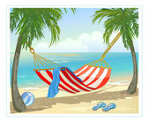 Hammock, palm trees on the beach — Stock Vector