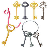 Set of vintage door keys — Stock Vector
