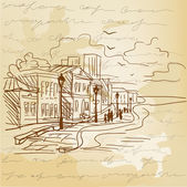 Vintage background with a sketch of the city — Stock Vector