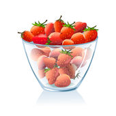 Transparent bowl with strawberries — Stock Vector