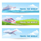 Three travel banners with transports — Stock Vector
