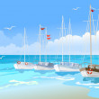 Yachts at sea — Stock Vector