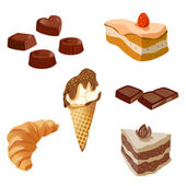 Set of sweets, chocolates, cakes — Stock vektor