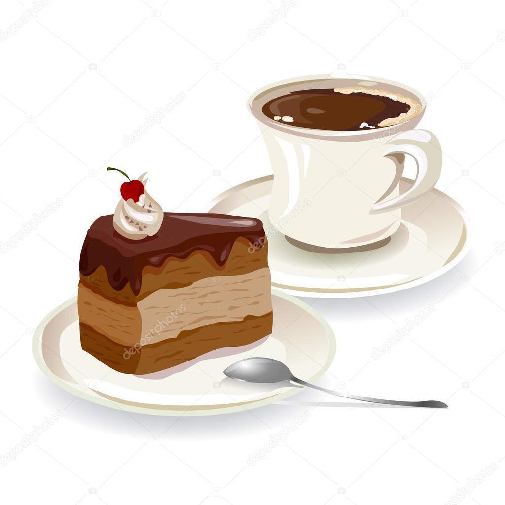 Tasse kaffee und ein stück kuchen — Stockvektor ...