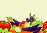 Seamless horizontal background of vegetables — Stock Vector
