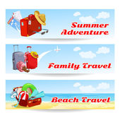 Banners with different suitcases — Vector de stock