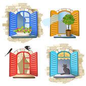 Conjunto de janelas do vintage — Vetorial Stock