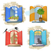 Set of vintage windows — Stock Vector