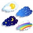Set of clouds, weather, time of day — Stock Vector #51212497