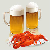 Beer mugs and a plate of crayfish — Stock Vector