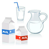 Different set of containers for milk — Stock Vector