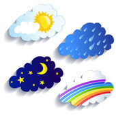 Set of clouds, weather, time of day — Stock Vector