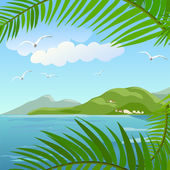 Seascape in the tropics — Vector de stock