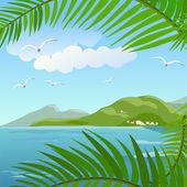 Seascape in the tropics — ストックベクタ