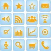 Iconos y dirección de empresas — Vector de stock