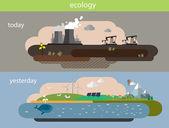 Flat design vector concept illustration with icons of ecology,environment,green energy and pollution.Плоская конструкция вектор концепции иллюстрации с иконами экологии, — Stock Vector