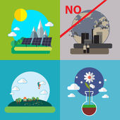 Flat design vector concept illustration with icons of ecology, environment, green energy and pollution. Плоская конструкция вектор концепции иллюстрации с иконами экологии — Stock Vector