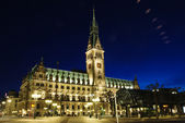 Hamburg, Germany. Night time Rathaus. — Stock Photo