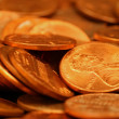 Stock Photo: Pennies Extreme Close Up
