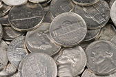 American Nickels Close Up — Stock Photo