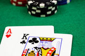 Blackjack and chips close up — Stock Photo