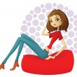 Flirty girl resting in a red bean bag — Stock Vector