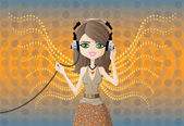 Young woman with headphones — Stock Vector