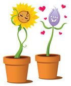 Flowers in love — Stock Vector