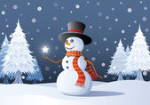 Cheerful snowman — Stock Vector