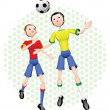Постер, плакат: Two soccer players competing