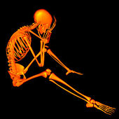 3d rendered orange skeleton of a sitting - headache — Foto Stock