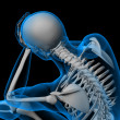 Stock Photo: 3d render white skeleton of sitting - side view