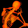 Stock Photo: 3d rende red skeleton of sitting - back view