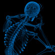 Stock Photo: 3d render blue skeleton of sitting - back view