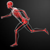 Running skeleton by X-rays in red — Stock Photo